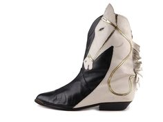 1980s Lady's cowboy style boots made of black leather with white leather appliqué in the form of horse head.