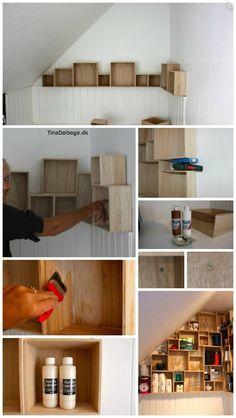 indretning af køkken med skrå vægge - der giver meget plads til opbevaring