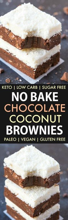 No Bake Chocolate Coconut Brownies (Paleo, Vegan, Keto, Sugar Free, Gluten Free)-An easy recipe for chocolate coconut no bake brownies and packed with protein! Easy, delicious low carb cookies which take less than 5 minutes to whip up- The perfect snack or dessert. #keto #ketodessert #nobake #brownies | Recipe on thebigmansworld.com