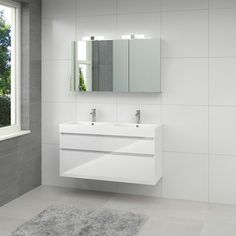 Bruynzeel Monta badmeubelset met spiegelkast hoogglans wit 120 cm