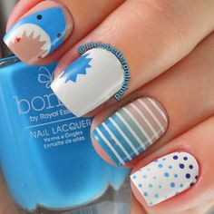 Shark Week Nails With Blue Ombre Stripes and Polka Dots