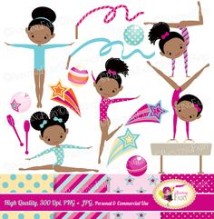 Little Girl Gymnasts Clip Art Set Afro Girl Cliparts Cute dress rhythmic gymnastic acrobatic Sport ribbon elements Digital Papers pf00064-1d by PaintingFairyClipart on Etsy