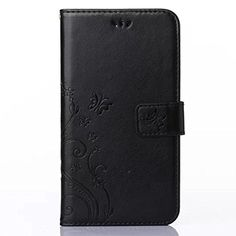 HAOTPTM Beauty Luxury Butterfly Fashion Floral PU Flip Stand Credit Card ID Holders Wallet Leather Case Cover for LG V10 Black ** Click on the image for additional details.