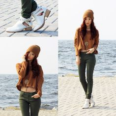 Zara Brown Cropped Sweater, Uniqlo Olive Green Pants, Jeffrey Campbell Beige Everly Cutout Boots