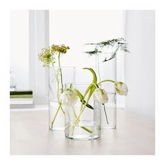 CYLINDER Vase, set of 3, clear glass clear glass -
