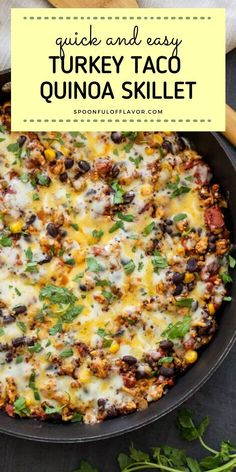 A healthy and delicious one-pot dinner perfect for busy weeknights! Turkey Taco Quinoa Skillet is made from ground turkey, quinoa, black beans, corn, tomatoes, and Mexican spices. Save this family-friendly meal ready in just 30 minutes! Healthy Turkey Recipes, Healthy Dinner Recipes, Mexican Food Recipes, Cooking Recipes, Healthy One Pot Meals, Ground Turkey Dinners, Ground Turkey Recipes, Healthy Ground Turkey Dinner, Ground Turkey Tacos