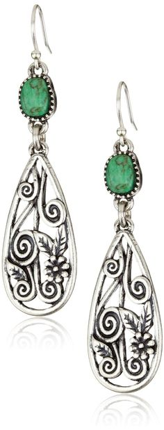 """Lucky Brand """"Wild Flower Ears"""" Silver-Tone Openwork Turquoise-Color Drop Earrings - designer shoes, handbags, jewelry, watches, and fashion accessories 