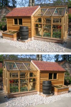 How to Build a from wood with woodworking plans! *not every pic or post is in the wood plans package Backyard Greenhouse, Backyard Sheds, Backyard Landscaping, Garden Huts, Best Tiny House, Carpentry Projects, Farmhouse Garden, Diy House Projects, Wood Plans