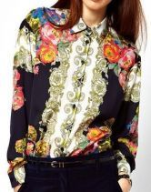 #SheInside Navy Long Sleeve Retro Floral Buttons Blouse $30