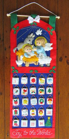 Nativity Advent Calendar.  This Calendar measures 11 x 31 approx. in size and includes 24 little stuffies that sit on the front of the calendar to count off the days until Christmas. This calendar is lined on the back to hide the stitches and comes with a drawstring bag to hold the tiny ornaments.  I hand cut and stitch my projects with love and care. All beads and sequins are also attached by hand, no glue is used on any of my creations. Stitched in a smoke free home.