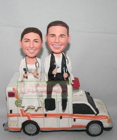 WowMiniMe : Custom cake toppers Doctors on ambulance - Custom Figurines Custom Cake Toppers Special Order Custom Wedding Gifts Custom cake toppers, personalized cake toppers, samesex cake toppers, wedding, custom figurines Special Wedding Gifts, Custom Wedding Gifts, Personalized Wedding Cake Toppers, Custom Cake Toppers, Wedding Topper, Wedding Cakes, Ambulance Cake, Bobble Head, Doctors