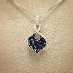 This beautiful sapphire and diamond pendant is going into our case today! #SJJewelers #sapphire #diamond #pendant #whitegold #September #jewelry