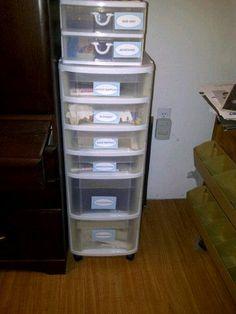 Organized scrapbook stuff.