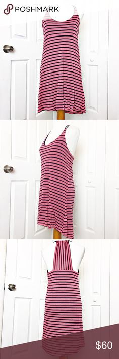"""Splendid Striped Racer Back Dress Adorable soft dress just in time for summer,  features stripes in pink and navy blue.  EUC.  Material of shell is 57% polyester and 43% rayon.  Lining is made of 50% supima cotton and 50% micro modal.  Measurements laid flat: bust 18"""" waist 17.5"""", hip 19, and length from top of shoulder to hem in front 34"""" and back 38"""". Splendid Dresses High Low"""