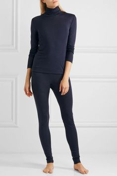 Hanro - Silk And Cashmere-blend Jersey Turtleneck Top - Storm blue - xx small