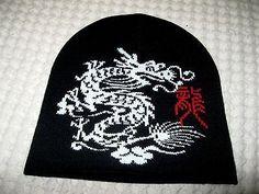 Large Chinese White Dragon on Black Winter Knitted Skull Beanie Ski Cap-New!