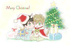 Merry Christmas (sharing the frosting) ...  From 4_ne_ 8 ... Free! - Iwatobi Swim Club, free!, iwatobi, makoto tachibana, makoto, tachibana, sousuke, sousuke yamazaki, yamazaki, dog, puppy
