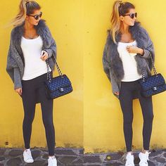 """STREET STYLES  Our grey #cardigan with #fur fits perfectly with your white & black Autumn essentials.  Thanks @anastasia.charlotte for this style inspiration! ❤️ #strickjacke #pelz #WeLoveFurs"" Photo taken by @welovefurs_com on Instagram Cardigan: http://www.welovefurs.com/en/furvests/113-cardigan-with-fur-collar.html"