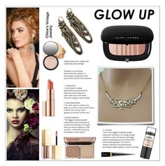 """""""Glow Up: Glam Highlighters"""" by shambala-379 ❤ liked on Polyvore featuring Marc Jacobs, Charlotte Tilbury, Maybelline, Estée Lauder, Stila, Christian Louboutin and vintage"""