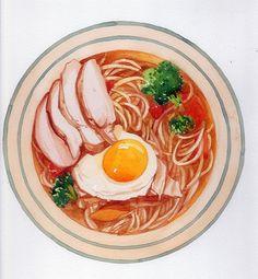 手绘水彩 美食食物 图画 拉面