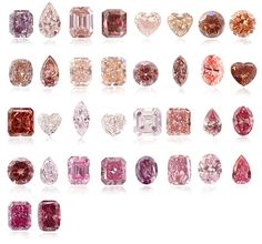 Various Pink Diamonds & Their Cut: crushed ice; pear; asscher; cushion; emerald; heart; oval; radiant; marquis; round...