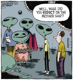 Speed Bump Cartoon for Funny Cartoons, Funny Jokes, Hilarious, Cute Comics, Funny Comics, Ufo, Speed Bump Comic, Aliens Funny, Science Humor