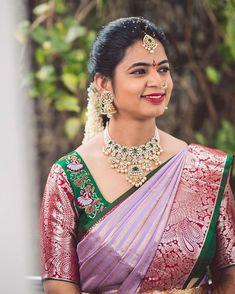 Wedding Saree Blouse Designs, Pattu Saree Blouse Designs, Half Saree Designs, Blouse Designs Silk, Saree Blouse Patterns, Blouse Models, Saree Models, Wedding Saree Collection, Indian Bridal Sarees