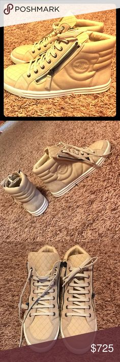 NWOT authentic Chanel sneakers and no box too Suede calfskin and Toi Zipped High-Top Sneakers CHANEL Shoes Sneakers