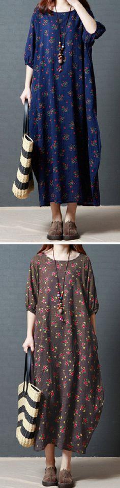 US$ 22.72 Gracila Vintage Women Floral Printed Half Sleeve Long Maxi Dresses