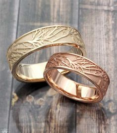 Tree of Life Wedding Band set in 14k rose gold and 10k green gold. Customize your nature inspired wedding band set in the metals you each love! #weddingbands