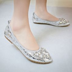 Rhinestone Pointed Toe Women Flats Casual Shoes