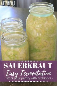 This homemade sauerkraut recipe is so easy to put together. It's a great way to … This homemade sauerkraut recipe is so easy to put together. It's a great way to delve into fermentation as a method of food preservation. via Sustainable Fermented Sauerkraut, Fermented Cabbage, Sauerkraut Recipes, Cabbage Recipes, Fermented Foods, Fermentation Recipes, Canning Recipes, Kitchen Recipes, Canning 101