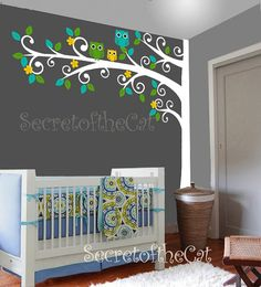 This listing is for our Corner Swirl Tree with Owls vinyl decal.  ** PRODUCT DETAILS:  Each decal is made of high quality, self-adhesive and