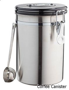 Coffee Canister - Stainless Steel Airtight Canister Coffee Vault with Built-in CO2 Gas Vent Valve & Date Tracking Wheel for Coffee Beans, Coffee Grounds, With a Coffee Scoop