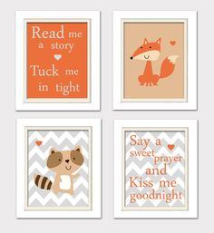 Nursery Quad, Woodland Nursery, Fox Nursery, Set of 4 8X10, Orange, Grey, Read me a story