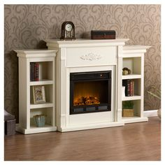 Eco-friendly electric fireplace with a mantel-style frame and side bookcases. Get in my bedroom!