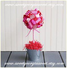 Fun Flirty VALENTINE Ribbon Topiary in by SweetGeorgiaSweet