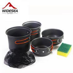 WIDESEA cookset 2-3 pessoa ao ar livre Não-stick Panelas Panelas Tigelas Portátil Acampamento Ao Ar Livre Caminhadas Cooking Set Panelas com uma esponja