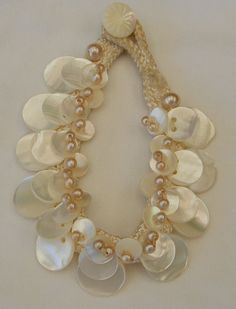 Vintage 1920/1930s Frank Hess Miriam Haskell Style Faux Pearl Mother of Pearl Silk Cord Bracelet