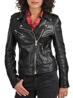 Women's Leather Jacket Handmade Black Motorcycle Solid Lambskin Leather Coat-W10…
