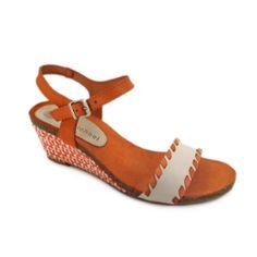 9203bb9634fd1f Eric Michael Marlo Wedge - Orange  amp  White  ericmichael  sandals Orange  Wedges