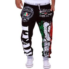 Men's+Casual+Trousers+Personalized+Italian+Flag+Printing+Pants+–+USD+$+11.39