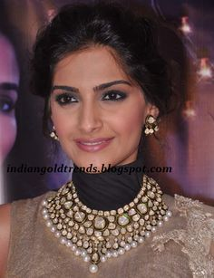 Latest Indian Gold and Diamond Jewellery Designs: Sonam Kapoor in designer polki diamond bridal necklace set with white pearls Pakistani Jewelry, Indian Wedding Jewelry, Bridal Necklace, Bridal Jewelry, Necklace Set, Gem Necklaces, Silver Jewelry, Buy Jewellery Online, Branded Jewellery
