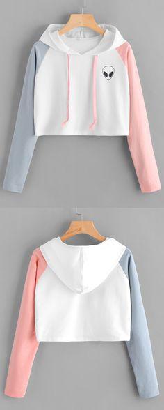 Cute Blue   Pink Alien Cropped Hoodie ❤ Cropped Hoodie Outfit f6ec87c47