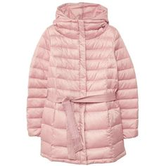 Hood Quilted Coat (150 CAD) ❤ liked on Polyvore featuring outerwear, coats, pastel pink, pink coat, pink bow coat, quilted coats, hooded quilted coat and mango coats