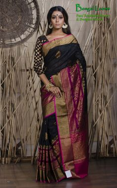 Pure Handloom Tussar Silk Banarasi Saree Available for sale from Bengal Looms
