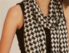 Houndstooth Baby Alpaca Scarf - Scarves are timeless! This houndstooth scarf adds flair to any outfit. You can twist it with other scarves to create new looks. These woven and brushed baby alpaca scarves measure approximately 74x12 inches. #scarf #alpacas #crystallakealpacaboutique