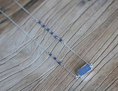 Blue crystal druzy and sterling silver bar necklace by Rosehip Jewelry