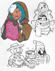 I've got this headcanon where Ana spends all of her free time knitting for her Overwatch family :3.