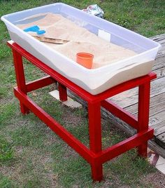 No room to put a SANDPIT at your place? Make this quick easy smaller version using a plastic tub. Just set it up in the backyard on the ground or low table & the put on the lid to cover it up once the kids are done! Other ideas: http://www.under5s.co.nz/shop/Articles/Activities.html